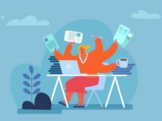 Cartoon image of lady multitasking