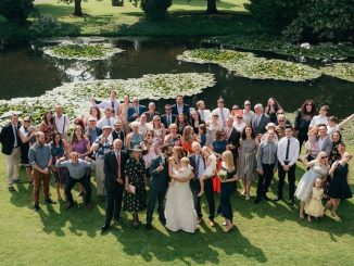 Wedding party gathered for a photo