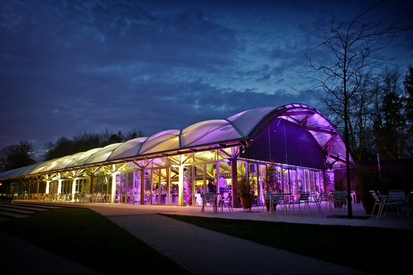 The Alnwick Garden venue lit up at night