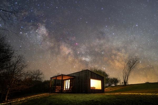 Downash cabin at night