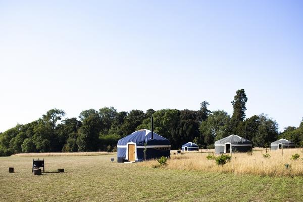 Glamping tents at Raynham Estate