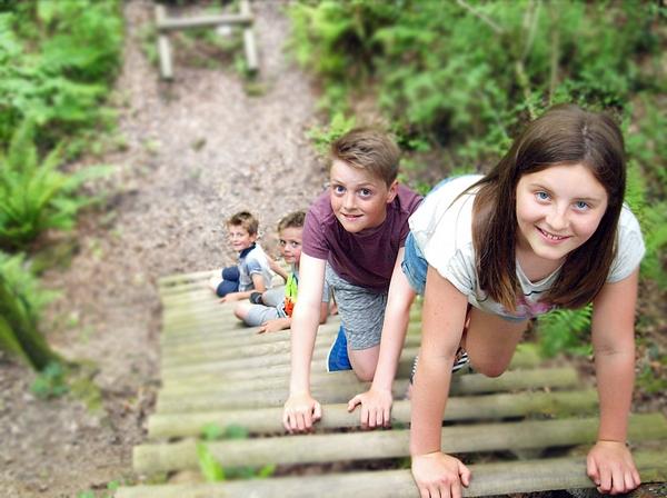 Children climbing at Yurtcamp Devon