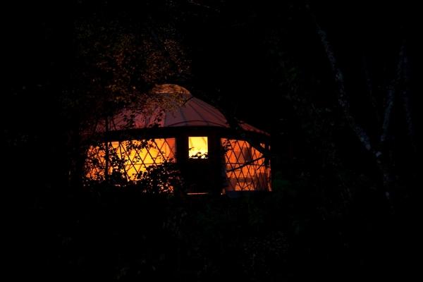Yurtcamp Devon yurt at nighttime