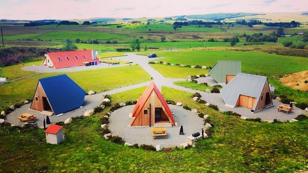Sperrin View Glamping accommodation aerial shot