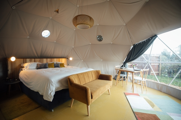 Glamping accommodation interior