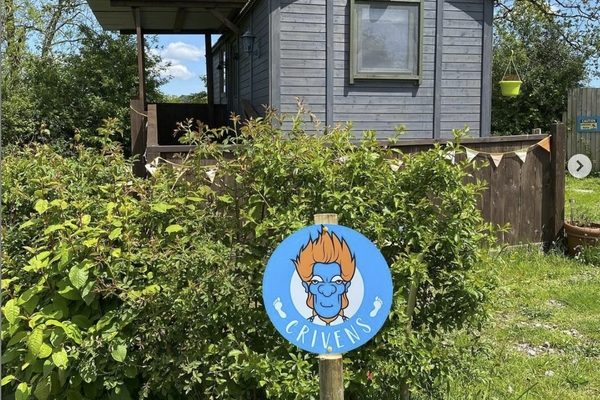 Sign outside glamping accommodation