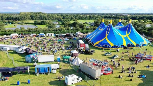 Aerial shot of festival